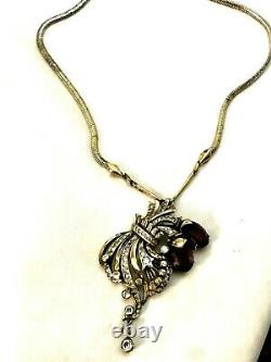Rhinestone Alfred Philippe Crown Trifari Sterling Silver Vermeil Necklace