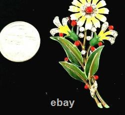 SUPERB Crown Trifari Alfred Philippe Figural Enameled Flower Fur Pin Brooch