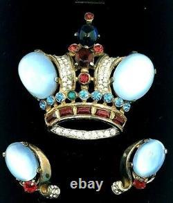 Signed Crown Trifari Alfred Philippe Sterling Rhinestone Crown Pin Earring Set