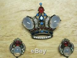 Signed TRIFARI Sterling CROWN BROOCH & EAR RINGS Jelly Belly ALFRED PHILIPPE