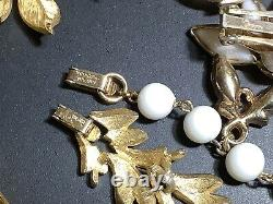 Signed TRIFARI Vintage Jewelry Lot Alfred Philippe White Milk Glass Dancer Sets