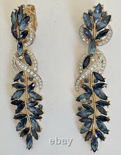 Spectacular Large TRIFARI Alfred Philippe Sapphire Drop Earrings Rare 3.25