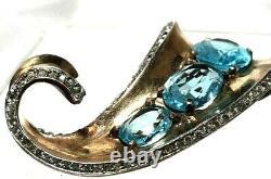 Sterling Vermeil Alfred Philippe Crown Trifari Aqua Rhinestone Fur Pin or Brooch