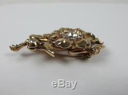 Stunning Alfred Philippe Trifari Rhinestone Rose Yellow Gold Fur Clip Brooch Pin