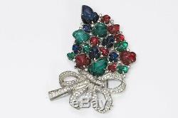 TRIFARI 1930s Alfred Philippe Tutti Frutti Carved Glass Brooch