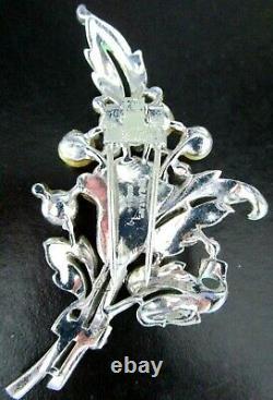 TRIFARI 1940 Alfred Philippe Enamel Rhinestone Faux Pearl Lily Flower Fur Clip