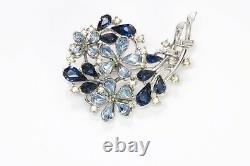 TRIFARI 1940s Alfred Philippe Blue Crystal Flower Brooch