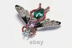 TRIFARI 1940s Alfred Philippe Pink Green Crystal Black Red Enamel Insect Brooch