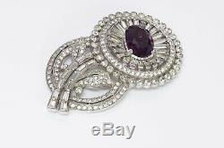 TRIFARI 1940s Alfred Philippe Purple Crystal Flower Brooch
