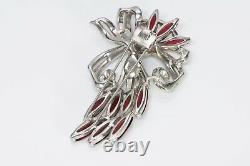 TRIFARI 1940s Alfred Philippe Red Crystal Flower Brooch