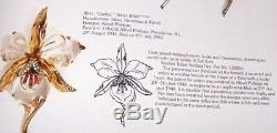 TRIFARI 1944 Alfred Philippe Gold Plated Jelly Belly Orchid Flower Brooch