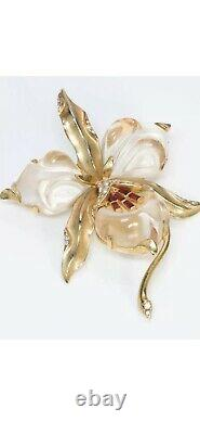 TRIFARI 1944 Alfred Philippe Gold Plated Sterling Jelly Belly Orchid Brooch