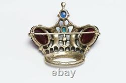 TRIFARI 1944 Alfred Philippe Sterling Red Blue Glass Jelly Belly Crown Brooch