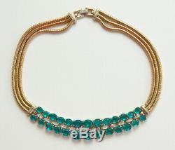 TRIFARI 1945 Alfred Philippe Faux Green Emerald & Diamanté Rhinestone Necklace