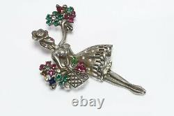 TRIFARI 1947 Alfred Philippe Flower Seller Sterling Red Green Crystal Brooch