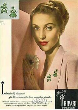 TRIFARI 1949 Alfred Philippe Blue Glass Rag Doll Tom Tom Brooch