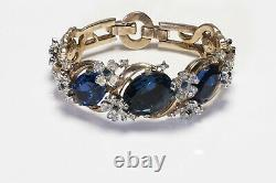 TRIFARI 1949 Alfred Philippe Gold Plated Blue Crystal Flower Bracelet