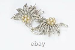 TRIFARI 1950s Alfred Philippe Crystal Pearl Flower Pin Brooch