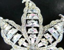 TRIFARI 1951 Alfred Philippe Massive Sparkling Ice Rhinestone Leaf Vintage Pin
