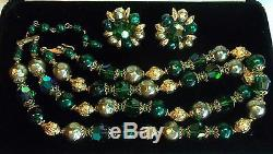 TRIFARI ALFRED PHILIPPE Emerald Green Crystals Baroque Pearl Necklace&Earrings