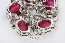 TRIFARI Alfred Philippe 1940s Red Pink Cabochon Glass Crystal Flower Brooch