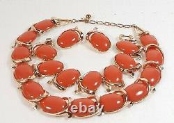 TRIFARI Alfred Philippe'BOLERO' Coral Cabochon Necklace Bracelet Clip Earrings