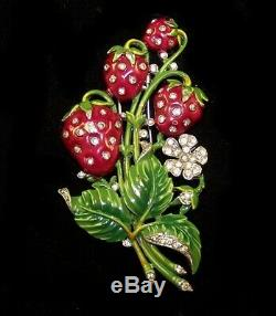 TRIFARI'Alfred Philippe' Enamel and Rhinestone'Strawberries' Clip/Pin
