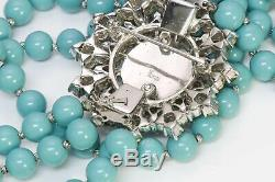 TRIFARI Alfred Philippe Faux Turquoise Beads 3 Strand Brooch Necklace