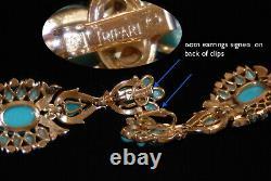 TRIFARI Alfred Philippe JEWELS of INDIA Turquoise Pavé Set Rhinestone Earrings