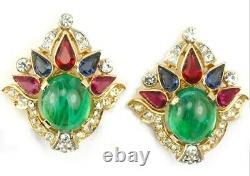 TRIFARI Alfred Philippe Jewels of India Emerald Ruby Sapphire Bracelet Earrings