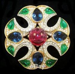 TRIFARI Alfred Philippe Jewels of India Emerald Ruby Sapphire Maltese Cross Pin