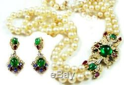 TRIFARI Alfred Philippe Jewels of India Pearl Necklace & Pendant Earrings