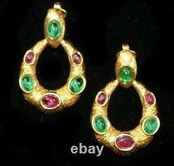 TRIFARI Alfred Philippe Moghul Emerald & Fuchsia Cabochon Clip Pendant Earrings