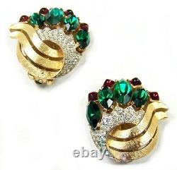TRIFARI Alfred Philippe Moghul Jewels of India Emerald Ruby R. S. Cuff & Earrings