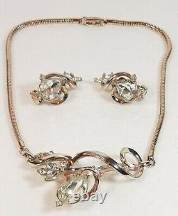 TRIFARI Alfred Philippe PAT PEND 1951 Gem of India Rhinestone Necklace Earrings