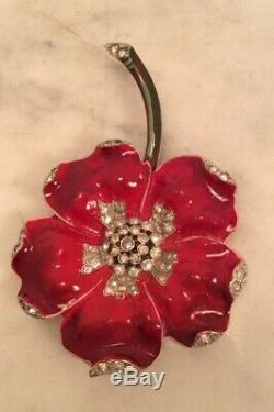 TRIFARI Alfred Philippe Pave Red Enamel Flower Clip Pin