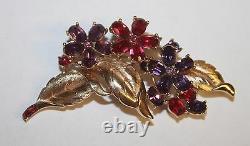 TRIFARI Alfred Philippe Pink & Purple Rhinestone Flower Pin Brooch Earrings Set
