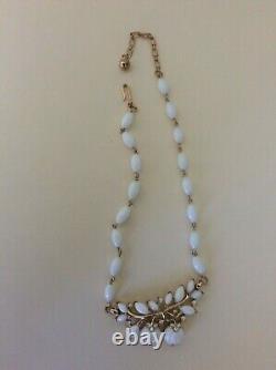 TRIFARI Alfred Philippe White Milk Glass poured glass rhinestone apple necklace