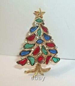 TRIFARI Christmas Tree Pin Brooch Alfred Philippe MODERN MOSAICS POURED GLASS