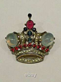 TRIFARI Moonstone Crown Brooch Pin Alfred Philippe ICONIC Design 1940s Sterling