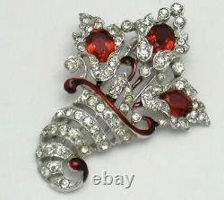 TRIFARI Philippe 1940 Red Floral Rhinestone Cornucopia Fur Clip Patent #122093