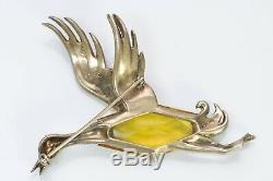 Trifari 1940s Alfred Philippe Gilded Sterling Yellow Crystal Duck Bird Brooch