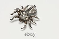 Trifari 1940s Alfred Philippe Sterling Silver Jelly Belly Spider Pin Brooch