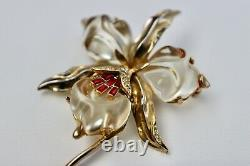 Trifari 1944 Alfred Philippe Jelly Belly Orchid Brooch Book Piece