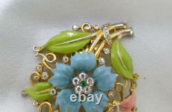 Trifari Alfred Philippe' 1939 Carnation Enamel Floral Spray Pin Dress Fur Clip