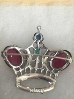 Trifari Alfred Philippe 1940-1946 Large Sterling Crown Brooch