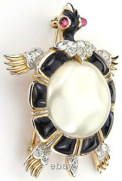 Trifari'Alfred Philippe' Black & Pearl Belly Ming Turtle Pin (1965 production)