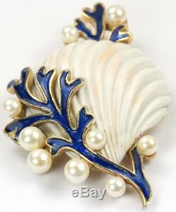 Trifari'Alfred Philippe' Blue Coral Pearl Bubbles & White Scallop Seashell Pin