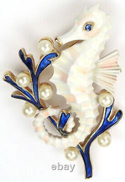 Trifari'Alfred Philippe' Blue Coral and Pearls White Seahorse Pin