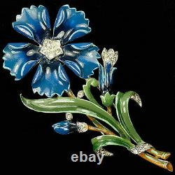 Trifari'Alfred Philippe' Blue Enamel Five Pointed Carnation Pin Clip